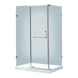 """Aston - Aston 48x35, Semi-Frameless Shower Enclosure, Stainless with Left Shower Base - A modern bath fixture that is as luxurious as it is practical; the SEN975 semi-frameless hinge pivot enclosure is the perfect solution for an upcoming remodel project. With 3/8"""" (10mm) ANSI-certified tempered clear glass, chrome or stainless steel finish hardware, clear premium leak-seal strips, durable steel supports and an optional 2.5"""" low profile fiberglass-reinforced shower base, you will experience the stability and support you desire. This model includes a 2.5"""" low-profile acrylic fiberglass-enforced base."""