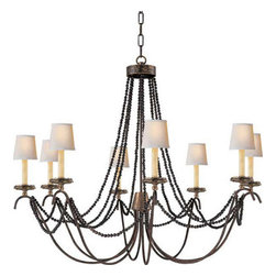 Valdemar- Chandelier - Antique Brass and Rust Eight Arm Chandelier with Brown Wooden Bead Trim