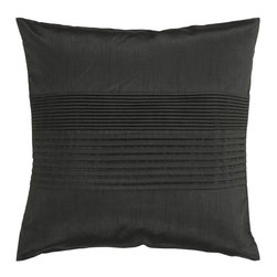 """Surya - Surya Tracks Decorative Pillow - Black - HH027-1818D - Shop for Pillows from Hayneedle.com! About Surya RugsSince 1976 Surya has established itself as one of India's leading producers of fine hand-knotted hand-tufted and flat-woven rugs. Their products are sold in the U.S.A. at respected department and specialty stores. The company is known for its quality value dedication and innovation. This includes responsibility for the entire process - spinning dyeing weaving and finishing. Surya prides itself on using the best raw material available for the production of their rugs. They are proud members of """"Wools of New Zealand."""" From design concept through production a Surya family member is involved making sure that the highest standards are being met at each level. Surya works with top designers and constantly updates their designs and color palettes to match and set the trends in design and fashion for the home. Surya always means a fine choice in rugs."""