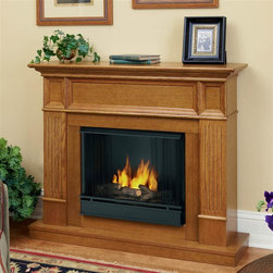 Real Flame - Camden Ventless Gel Fireplace in Light Oak - Can be assembled as either a corner piece or flat against any wall. Corner Dimensions:40.5H x 45.125W x 34D109lbs . Uses Only Real Flame 13oz Gel Fuel Cans, not included. Includes: MDF mantel, firebox, hand painted cast concrete log and screen kit.. Uses clean burning Real Flame gel fuel emitting up to 9,000 BTUs of heat per hour lasting up to 3 hours.. Solid wood and veneered MDF construction.. Assembly Required. 45.125 in. W x 11.625/34 in. D x 40.5 in. H (92/109 lbs.)The Camden is a definitive piece of classic American Colonial style.Trimmed nicely with fluted columns and recessed panels, the Camdenis sure to be a lasting statement in any home. Additionally, theincluded corner panel allows this time-honored mantel a secondoption for installation.