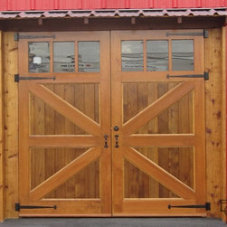 Brittania braced carriage doors - These doors have a classic carriage door look with the union jack bracing on the front. A great decorative architectural style.
