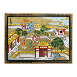 China Furniture and Arts - Hand Painted Gold Leaf Wall Plaque - The tranquility of domestic life in ancient China is depicted on this gold-leaf covered wooden wall-screen. The absence of a male figure in this garden scene tells the age-old Chinese belief that the harmony and prosperity of a family depends on the division of duty between man and woman. The man provides and the woman attends to household affairs as we see the happy life enjoyed in this picture. Brass hangers are included.