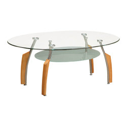 Global Furniture - Global Furniture USA 138C Francis Oval Clear Glass Coffee Table w/ Silver & Beec - This modern coffee table is made of tempered glass and is finished in cherry.  The chrome accents makes this table a focus point for any living room.