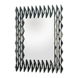 "Lazy Susan - Lazy Susan 114187 Geometric Rectangular Framed Wall Mirror - Contemporary and stylish, individual mirrored pieces from the frame to this 40"" tall mirror. Each piece is hand cut and beautifully refracts light, illuminating any space."