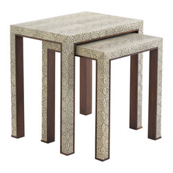 Lexington - Lexington Tower Place Adler Nesting Tables 706-957 - This set of two tables, covered in embossed python leather with wood edges, is a luxurious, yet refined, statement piece. Use together to extend the useful surface area, or separate the smaller table.