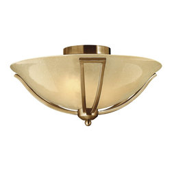 Hinkley Lighting - Hinkley Lighting 4660BR Bolla Transitional Flush Mount Ceiling Light - The graceful lines of Bollas sweeping double arms create a soft elegance  while heavy cast spheres perched at the tips add to its innovative style. The strong proportions of the arms  offered in either Brushed Nickel  Olde Bronze or Brushed Bronze finishe