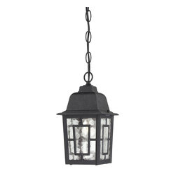 "Nuvo - One Light - Outdoor Hanging Pendant - Textured Black Finish with Clear Water Gla - Shade: Clear Water Glass.  UL certified: Wet Location.  Bulb Information: 1 x 100w-Medium A19 Incandescent (Bulb is not included).  Chain: 48"". . Color/Finish: Textured Black. 6 in. W x 11 in. H (2 lbs)The Banyon collection has a pleasing architectural aesthetic and features geometric inlays atop its clear water glass.  This collection is offered in three finishes; white, rustic bronze, and textured black.  The Banyon collection with its strong design and handsome finishes will be a welcome addition to any home."