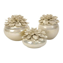 iMax - Blair Hand-Sculpted Floral Boxes, Set of 3 - The hand-sculpted Blair Floral boxes, are a beautiful way to sort jewelry or other small items. With their lustrous glaze and delicate petals, they are perfect for displaying in a bedroom, sewing room or garden room. Set of 3.