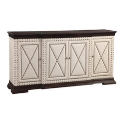 Bassett Mirror Company - Bassett Mirror Wood & Linen Breakfront Server in Natural - Wood & Linen Breakfront Server in Natural belongs to Hampton Collection by Bassett Mirror Company Wood & Linen Breakfront Server in Natural Server (1)