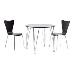 Surge Dining Table in Black, Arne Jacobsen-Style Series 7 Side Chair