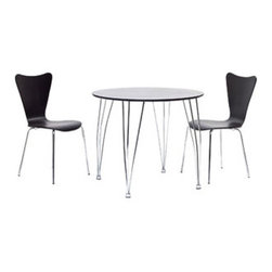 "LexMod - Surge Dining Set Set of 2 in Dark Brown - Surge Dining Set Set of 2 in Dark Brown - Enact a burst of enthusiasm as creative energy courses up from the deeper essences. Surge reminds us of the ability to achieve goals while balancing this impetuosity with stability. The sleek round black top and bowed steel legs show the cumulative strategies needed to increase one's capacity for understanding. Minimalist in nature though it may be, this seat doesn't skimp on comfort. Its seemingly rigid design, flexes to the contours of the human body, making it a great side chair for homes and businesses alike. Set Includes: One - Surge Dining Table Two - Ernie Chairs Table: For Indoor or Outdoor Use, Chairs: Solid Plywood Seat, Stackable, Chrome Legs Overall Product Dimensions: 19.5""L x 17""W x 34""H Seat Dimensions: 16""L x 18""H - Mid Century Modern Furniture."