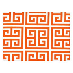 Close to Custom Linens - Euro Shams Ruffled Pair Towers Orange - Towers is a medium scale geometric in orange on natural cotton. The shams are 26 x 26 with a 2 1/2 inch ruffle. The face is lined with a layer of poly for extra body.
