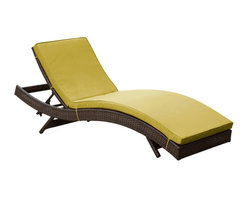 Modway Furniture - Modway Peer Chaise in Brown Peridot - Chaise in Brown Peridot belongs to Peer Collection by Modway Don't let moments of relaxation elude you. Peer is a serenely pleasant piece comprised of all-weather cushions and a rattan base. Perfect for use by pools and patio areas, chart the waters of your imagination as you recline either for a nap, good read, or simple breaths of fresh air. Moments of personal discovery await with this chaise lounge that has fold away legs for easy storage or stackability with other Peer lounges. Set Includes: One - Peer Lounge Chaise Lounge (1)