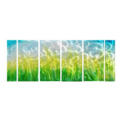 Pure Art - Splendor in the Grass Wall Art Set of 6 - Green grasses sway beneath a blue sky with an abstract appeal. This metal wall hanging six panel grouping brings a contemporary and modern look to any room in your home or an office. Beautiful grouping is hand painted by artisans and crafted using only the best quality of materials. Each panel can be hung easily and securely with the brackets on backMade with top grade aluminum material and handcrafted with the use of special colors, it is a very appealing piece that sticks out with its genuine glow. Easy to hang and clean.
