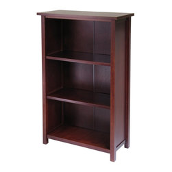 "Winsome Wood - Winsome Wood Milan Milan Storage Shelf or Bookcase 4-Tier- Medium X-82349 - This spacious shelf is ideal for displaying your treasure or storage your books.  Simple and elegant design is a perfect additional to any home.  Add baskets to create a new function and look for the shelf.  Shelf assembled dimension is 28""W x 13""D x 43'H.  Spacing between each shelf is 12.20"" with shelf surface of 23.31""W x 11.14""D.  Shelf top surface is 28""W x 13""D. Made with combination of solid and composite wood in Antique Walnut Finish.  Assembly Required"