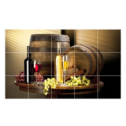 Picture-Tiles, LLC - Wine Grapes Picture Bathroom Shower Tile Mural  36 x 60 - * Wine Grapes Picture Bathroom Shower Tile Mural 1547