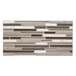 Mission Stone Tile - Serenity Glass Mosaic Strips - Mix Glass and Stone, Clouds N My Coffee - Perfect for backsplash tile, kitchen tile, or bathroom tile.