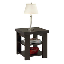 Ameriwood - Ameriwood Hollow Core End Table in Black Forest Finish - Ameriwood - End Tables - 5188012YCOM - Add a modern look to your living room with the clean lines of this transitional end table from Ameriwood. Crafted in a stylish Black Forest finish the Ameriwood Hollow Core End Table makes a great addition to any style interior from casual to ultra-chic. Two levels of lower shelves provide convenient space for placing TV remotes books magazines photo albums or other decorative items. Place one table next to your living room chair or buy two for each end of your sofa. The top of the end table supports a maximum of 50 pounds. Each of the lower shelves support another 50 pounds. Add this attractive piece to your living space and give your interior a fresh new look. Easy to assemble with household tools. Made in USA.
