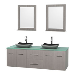 """Wyndham Collection - Centra 72"""" Grey Oak Double Vanity, Green Glass Top, Altair Black Granite Sinks - Simplicity and elegance combine in the perfect lines of the Centra vanity by the Wyndham Collection. If cutting-edge contemporary design is your style then the Centra vanity is for you - modern, chic and built to last a lifetime. Available with green glass, pure white man-made stone, ivory marble or white carrera marble counters, with stunning vessel or undermount sink(s) and matching mirror(s). Featuring soft close door hinges, drawer glides, and meticulously finished with brushed chrome hardware. The attention to detail on this beautiful vanity is second to none."""