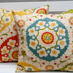 Richloom Cornwall Garden Throw Pillow Cushion Covers by Festive Home Decor - I'd toss this throw pillow onto a glider or rocker to help give an eclectic vibe to a nursery. The primary color combination works well for a boy or girl.