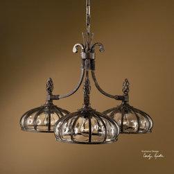 Galeana-Bronze-3-LT-Chandelier-with-Mouth-Blown-Glass-1 - Vista Stores