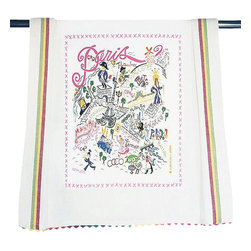 CATSTUDIO - Paris Dish Towel by Catstudio - This original design celebrates the City of Paris.  This design is silk screened, then framed with ahand embroidered border on a 100% cotton dish towel/ hand towel/ guest towel/ bar towel. Three stripes down both sides and hand dyed rick-rack at the top and bottom add a charming vintage touch. Delightfully presented in a reusable organdy pouch. Machine wash and dry.