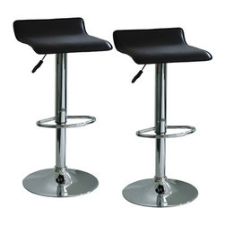 New Buffalo Corp. - Amerihome 2-Piece Adjustable Height Bar Stool Set - The Amerihome 2-Piece Adjustable height Bar Stool Set brings a touch of the casual contemporary to complete any room. The textured vinyl seat is ideal for kitchen spaces as well as bars, game rooms, and basements. The sleek polished chrome base with foot rest is unobtrusive and allows for comfortable leg room. The padded seat is designed for comfort with the wide 15.5 inch seat that swivels 360 degrees and has an Adjustable height of 21.5 to 29.5 inches. All these features create an idyllic bar stool for all ages.