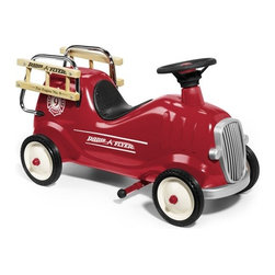 Radio Flyer | Little Red Fire Engine | Ride-on Firetruck | Toy Firetruck Ride-On - Your child can race to the rescue with Radio Flyer's Classic Steel and Wood Fire Engine Ride-On with Push Bar. This award-winning, classic red ride-on offers two ways to ride: young riders can push with their feet, or adults can use the removable handle to safely guide their children.