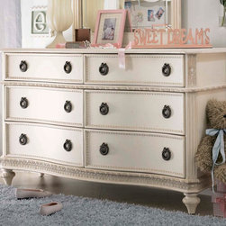 Lea Industries - Lea Emma's Treasures 6 Drawer Dresser in Vintage White - Inviting, casual and comfortable easily describes Emma's Treasures from Lea Furniture. Traditional styling mixed with a cozy time-worn appearance creates a collection of youth furniture sure to please any age girl. The distressed vintage white color finish, antiqued pewter-color hardware, the use of cane and crystal-cut mirrors all help create the shabby chic appeal of this group. Special features include vintage patterned drawer liners and hidden compartments on select pieces. Unique pieces include a vanity with bench, a mirrored door chest and a desk that can double as a larger vanity. Take a look at Emma's Treasures and create a room your child will treasure for years to come. And, as always, Emma's Treasures comes with the quality you expect from Lea Furniture. Safety is one of the key elements parents look for when buying products for their children. As a supplier of children's furnishings, we are committed to ensuring our products meet or exceed the safety requirements defined by the Consumer Product Safety Commission and the ASTM. Design and function combined with safety features makes the Emma's Treasures collection an ideal choice for any child's room. - 606-261.  Product features: Belongs to Emma's Treasures Collection; Dresser; 6 Drawers; Crafted from solid wood; Select veneers and wood solids for a high quality end product; Use mortise and tenon joinery to ensure strength and stability; Have veneer tops and end panels to prevent cracking and splitting over time; Distressed vintage white finish. Product includes: Dresser (1). 6 Drawer Dresser in Vintage White belongs to Emma's Treasures Collection by Lea.