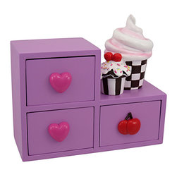 Lavender 3 Drawer Cupcake Motif Jewelry Box - This awesomely cool 3 drawer lavender jewelry box is a great addition to bedrooms and dorm rooms. Made of cold cast resin, it features a pair of cupcakes on the side, accented with sprinkles and frosting. The drawers have heart and cherry drawer pulls. The box measures 6 inches tall, 6 1/2 inches wide and 2 3/4 inches deep. The interior of each drawer measures 2 inches by 2 inches by 1 1/4 inch. All of the drawers are 5 inches deep and 1 1/2 inches tall. The box makes a great gift for friends and family.