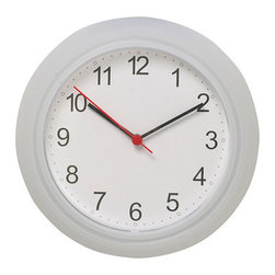 """Wall Clock, Plastic - This is a good clock that will never win design awards but will give you the correct time for a low budget price. This clock is 9 3/4"""" in diameter and 1 1/2"""" high, with a second hand. One AA battery is required (not included)."""