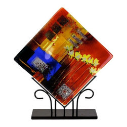 "Jasmine Art Glass - 15In Square Platter 60015 - A beautiful multi colored fused art glass 15"" platter presented in a diamond shape. Red, blue orange, black, and yellow flowers. Stand included"