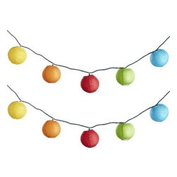 Rainbow Lantern String Lights - Rainbow lights on the deck will bring bright colors even through the rain.
