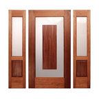 "The Stratford Entry - The Beautiful Stratford Entry. By Mendocino Doors.com . It is a vertical grain Old Growth Redwood Door.  It has a Satin Etched glass with a ""floating"" panel of Ribbon Mahogany. Brian Lee Designs"