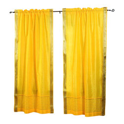 Indian Selections - Pair of Yellow Rod Pocket Sheer Sari Curtains, 80 X 108 In. - Size of each curtain: 80 Inches wide X 108 Inches drop. Sizing Note: The curtain has a seam in the middle to allow for the wider length