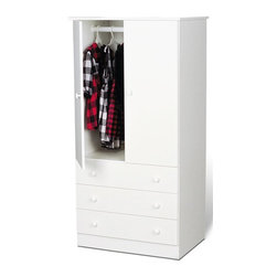 Prepac - 60 in. Wardrobe with 3 Drawers - Includes a tipping restraint bracket. Two door cabinet and hanging rod. Chrome colored plastic knobs. Removable drawers run smoothly on nylon glides with built-in safety stops. Sides, top, drawer fronts and kickers made from 0.63 in. thick laminated composite board. MDF drawer components and backer. Warranty: Five years. White finish. Made in North America. Wardrobe: 27.5 in. W x 20 in. D x 35.75 in. H. Drawer: 26 in. W x 12.5 in. D x 4 in. H. Overall: 30 in. W x 20.5 in. D x 60 in. HSay goodbye to your overcrowded closet with the Edenvale three drawer wardrobe. Its clean, minimalist style makes it an easy addition to any small bedroom. So dont clutter up your bedroom, keep it simple with this efficient and affordable wardrobe.