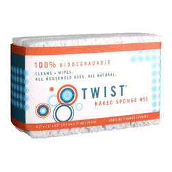 Twist - Twist Small Naked Sponge, Set of 2 - Toss out your synthetic sponges and go green with this plant-based scrubbing tool, which will make you feel good every time you use it. This durable sponge is free of colorants, dyes and additives, making it the purest cleaning product on the market. Crafted from plant cellulose and dishwasher safe, this ecofriendly sponge makes natural cleaning a snap.