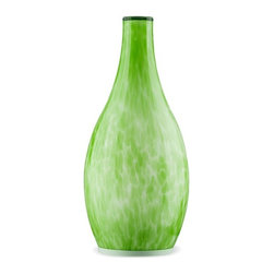 ParrotUncle - Hand Painted Blown Glass Vase LED Table Lamp, Green - This Hand Painted Blown Glass Shade LED Potable Table Lamp offers lovely elements in a well-executed package and artistic accent for a living room or bedroom. This lovely luminary emits an enchanting glow wherever it's placed. Unique and contemporary home interior lighting design for your home decoration.