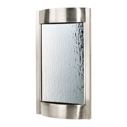 """Bluworld Innovations, LLC - Contempo Luna Wall Fountain 36""""H x 19""""W Brushed Stainless with Silver Mirror - Stainless steel with a silver mirror. The Contempo series wall fountains are a wonder to look at and listen to. The sleek style and simplistic design are sure to modernize any living environment. These wall fountains will bring you many years of relaxation and stress relief. Designed to mount easily to drywall with a single bracket and included hardware."""