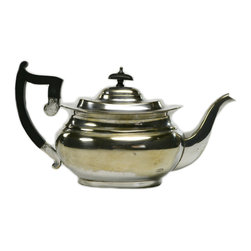 Lavish Shoestring - Consigned Silver Plated Bombe Teapot, Antique English, Early 1900s - This is a vintage one-of-a-kind item.