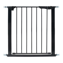 """KidCo - Auto Close Gateway Baby/Pet Pressure Gate - Black - Meet the KidCo Auto Close Gateway Model G1101 a premium-quality, pressure mounted gate perfect that works well to separate children and animals from spaces they don't belong. This basic black gate features super easy installation without tools and hardware, is finished in non-toxic coating, has a single button to prevent the gate from latching at inappropriate times, and offers a U-shaped frame with a door that swings in both directions and latches automatically when the no-latch button is not in use. This gate protects openings 29"""" to 37"""" wide and has extensions that augment its length to 47"""". Made of premium steel materials and standing 29.5"""" tall, it is durable and build to last. This gate is also available in a classic white finish -- See G1100. Magnetic closures for secure locking Will not mark or mark walls and doorframes Super easy installation Meets or exceeds all ASTM and JPMA safety standards Dual swinging door Added no-latch buttonAdditional accessories include: Model G4101 : 5.5"""" Extension Kit. Model GY-1 Spindle Adapter available for installation at balusters. Extension Width Table:37"""" to 42 1/2"""" : (1) G410142 1/2"""" to 47 1/2"""" : (2) G4101"""