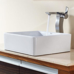 Kraus - Kraus Bathroom Combo Set White Square Ceramic Sink and Sonus Faucet - Add a touch of elegance to your bathroom with a ceramic sink combo from Kraus Stylish ceramic sink and Sonus vessel faucet will complement any bathroom decor Exquisite Collection