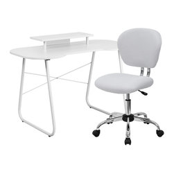 Flash Furniture - Flash Furniture White Computer Desk with Monitor Stand and Mesh Chair - This colorful desk and chair combination will liven up any room! The spacious desk offers ample space for writing, reading, homework or browsing on your laptop. The small cutout offers space for you to pull your chair close up to the desk surface. This colorful combination will offer a comfortable and contemporary setting.