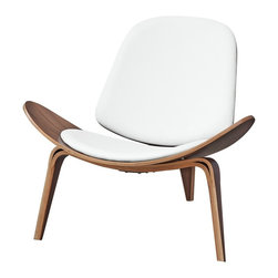 Lemoderno - Fine Mod Imports  Shell Chair, White - Among the most famous designs created by Danish modernist, this three-legged accent chair almost fell into obscurity. Originally produced in 1963, it was discontinued after a few limited series. In 1997, production on the chair was re-launched and became a hit with the public. Crafted from solid oak with a lacquer finish, it has a padded seat that is removable. Leather Seat and Back Walnut Base   Assembly Required