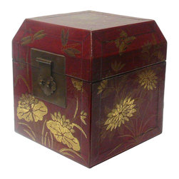 Golden Lotus - Chinese Hand Painted Golden Flower Red Lacquer Box - This is a hand made oriental lacquer box with modern rustic matte gold color oriental flower butterflies scenery graphic.