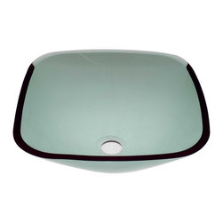 Renovators Supply - Vessel Sinks Square Vessel Sink Green Glass Sweet Pea - Square Sinks. Glass Vessel Sinks: Single Layer Tempered glass sinks are five times stronger than glass, 1/2 inch thick, withstand up to 350 F degrees,  can resist moderate to high degrees of impact & are stain��_��__��_��__��_��__proof. Ready to install this package includes FREE 100% solid brass chrome-plated pop-up drain, FREE machined 100% solid brass chrome-plated mounting ring & silicone gasket.  Measures 16 1/4 in. L x 16 1/4 in. W x 5 1/2 in. deep. x 1/2 in. thick.