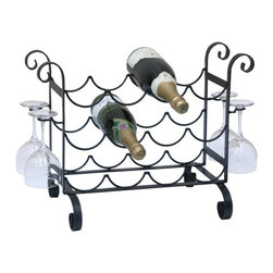 Other Brands - 12-Bottle Solid Metal Wine Rack and Glass Counter Rack - WR-40704 - Shop for Wine Bottle Holders and Racks from Hayneedle.com! The Solid Metal Wine and Glass Counter Rack features a tasteful classic design with elegant curves and a sturdy metal construction. This countertop wine rack provides storage and display for up to 12 bottles of your favorite varietals as well as hanging storage for four wine glasses on side stemware racks. Hand-crafted from solid metal with a black matte finish this wine rack will provide years of beauty and function.About the ManufacturerFor over 10 years Concept Housewares has been a leader in kitchen storage and Asian cookware. Concept Housewares products are designed with the consumer in mind and are made with the best materials and craftsmanship available. These products are repeatedly recognized for quality style and innovation allowing customers to accessorize their kitchens at an exceptional value. Concept Housewares strives to find new ways to organize and streamline today's kitchens without compromising style.