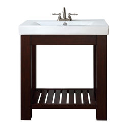 "Avanity - Lexi 30"" Vanity Combo - If you need storage, but prefer an airier look in the bath, consider this vanity concept. The basin sits neatly in the handsome wood frame, with a slatted shelf below for necessities."