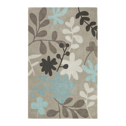 Surya - Cosmopolitan Geometric Area Rugs in Taupe Neutral - This bold rug from the Cosmopolitan Collection features a leafy pattern in browns, white and light blue on a light brown background. It is made of hand tufted poly-acrylic fibers for durable construction. This modern rug will blend well with nearly any decor with at least some light blue in the color scheme.