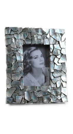"""Concepts Life - Concepts Life Photo Frame  Sacred Mantle  4x6"""" - Add luxurious shimmer and texture to your most beloved photographs with our Sacred Mantle Photo Frame. These dazzling silver frames feature a shell like finish and look stunning when they catch a ray of light.  Modern home accent Contemporary silver picture frame Beautiful and elegant home accent Rectangular photo frame Made of polyresin Textured finish Easel back for horizontal or vertical display Various sizes available Holds 4 x 6 in. size photo Dimensions: 8.5""""w x 10""""h x 1""""d Weight: 2 lbs"""